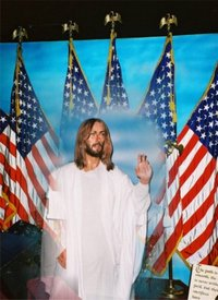 Jesus in front of America Flags
