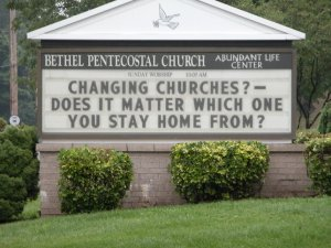 Changing Churches? Does it matter which church you stay home from?